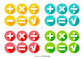 Vector Colorful Math Symbols Buttons Set
