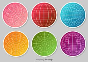 Set av Globe Grid Vector Stickers