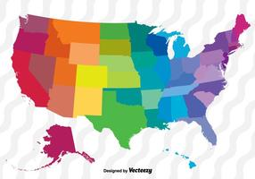 Colorful Vector Map Of The United States