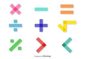Set de símbolos de matemática colorida do vetor