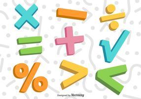 Símbolos de matemática colorida 3D do vetor