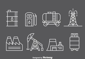 Icônes de ligne de l'industrie pétrolière