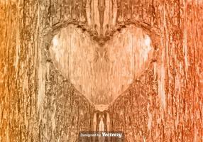 Vector corazón tallado en el árbol