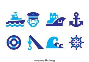 Vector de ícones azuis náuticos