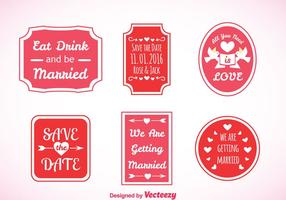 Wedding Pink Labels Vector