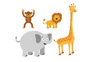 Djurvektorer: Lion, Monkey, Giraffe, Elephant