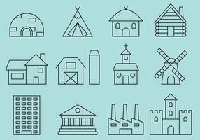 Building Line icons vector