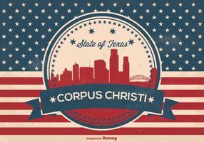 Corpus Christi retro skyline illsutration