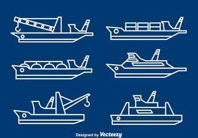 Vetor de linhas de barcos e barcos