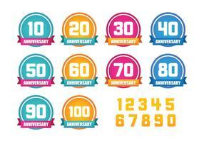Aniversario Vector Etiqueta