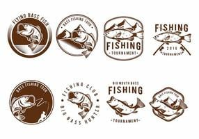 Bass Fish Badge Set vector