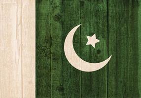 Bandiera vettoriale gratuita del Pakistan dipinta su fondo in legno