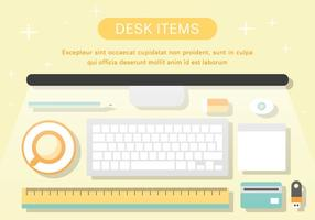 Free Desk Items Vector Illustration