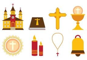 Set Van Eucharistiek Vector Pictogram
