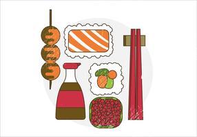 Vector comida japonesa