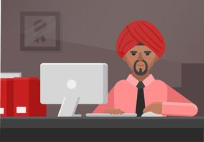 Vector Turban Man Employee