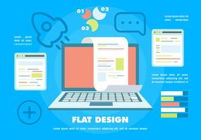 Flat Digital Marketing Vector Background with Touch Screen Notebook
