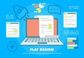Free Flat Digital Marketing Vektor Hintergrund mit Touch Screen Notebook