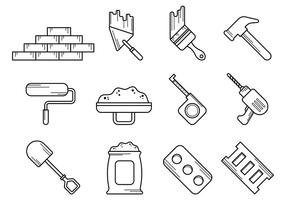 Set Of Bricklayer Tool Vector