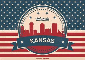 Illustration Wichita Kansas Skyline rétros