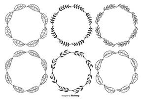 Sketchy Leaf Frames vector