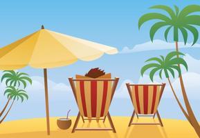Verano Playa Paisaje Vector