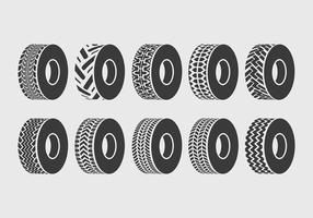 Iconos del vector del neumático del tractor