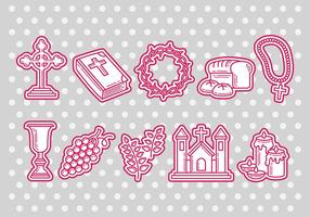 Eucharist icons vector
