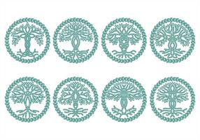 Celtic tree icons vector