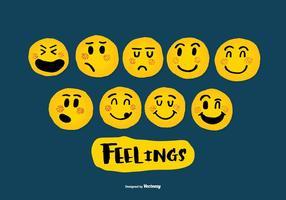 Mano dibujada Emoji Vectores