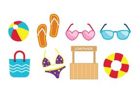 Iconos planos de playa gratis