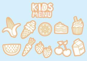 Kids Menu Icons Vectors