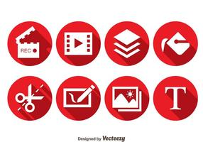 Video Editing Red Circle icons vector