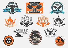 Slagers en Cleaver Labels Vector Set