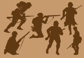 Vecteurs de silhouette soldat de guerre mondiale 2