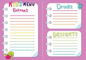 Kids Menu Vector Girls