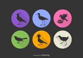 Ícones grátis do vetor da silhueta do pássaro