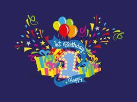 Första födelsedagsvektorillustrationen