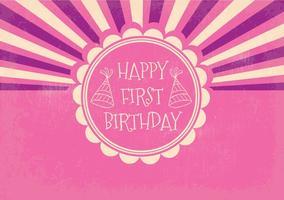 Retro primer cumpleaños ilustración