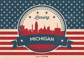 Landsing Michigan Retro Skyline Illustration