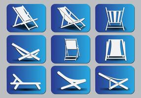 Deck chair Silhouette icon set