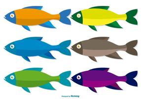 Färgglada Fish Vector Set
