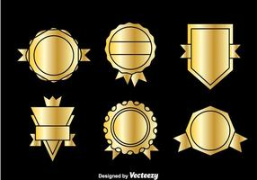 Golden Blank Badge Vector