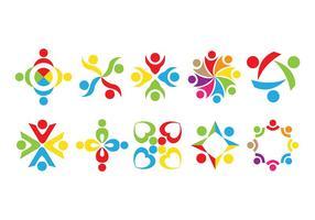 Vektor att arbeta tillsammans Logo Pack