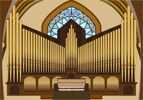 Vector illustration of pipe organ
