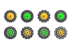 Free Colorized Tractor Tire Icon Vector