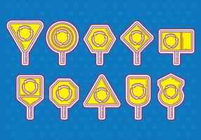 Roundabout sign icons vector