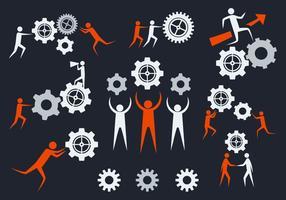 Libre Trabajando Juntos Vector Iconos