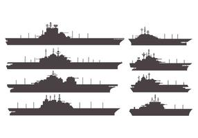 Silhouettes  Aircraft Carrier Vector