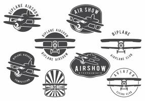 Biplane Badge Set